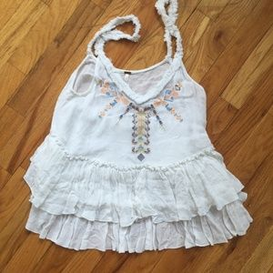 Free People White Embroidered Sleeveless Top
